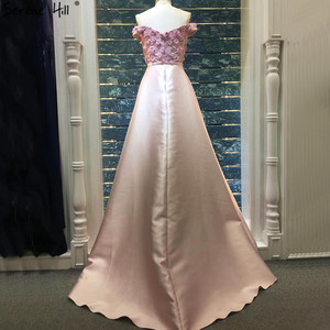 Image 2 - Pink Sleeveless Off Shoulder Luxury Evening Dresses 2020 Handmade Flowers Pearls Sexy Evening Gowns Real Photo LA60715