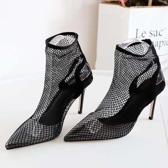 2018 Sexy Talons Mode Bottes Summer Haute Chaussures Air Tipe Orteils Diapositives Femme Maille Pointes Hot Mince Pic De Lames Pub As ax8Xrqwa