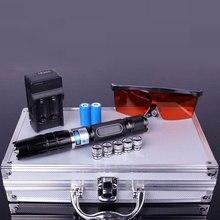 La puissance élevée 1.6.w allongent les pointeurs bleus de Laser 450nm Lazer voyant la lampe torche allumant/brûlent les cigares légers/bougie/chasse