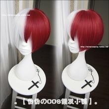 My Hero Academia Boku no Hiro Akademia Shoto Todoroki Shouto White And Red Heat Resistant Cosplay Costume Wig + Track Cap