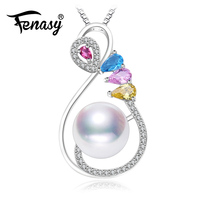 FENASY white Pearl ruby Pendant 925 Sterling Silver Jewelry black pink Pearl Necklace ,Colorful Jewelry leaf necklace for women