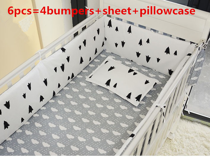 Promotion! 6PCS Cotton Baby Crib Bedding Set ,bedclothes baby,Roupa de Cama ,Bed Cot Set ,include(bumper+sheet+pillow cover)