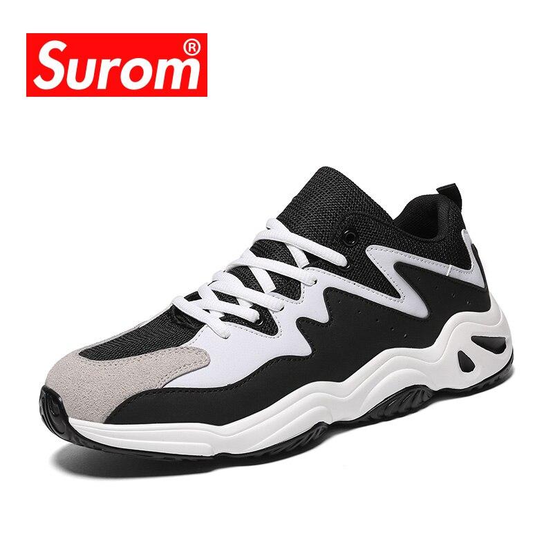 SUROM Sapatos Da Moda Homens de Várias Cores Lace up Vintage do Pai Dos Homens de Luz Respirável Tênis