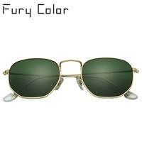Real Glass Lens Retro Metal Hexagonal Round Sunglasses Men Women Hot Ray Male Sun Glasses Eyewear