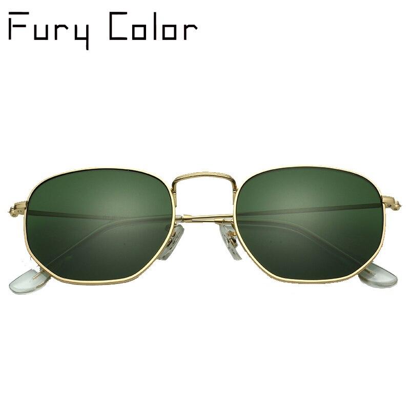 Glaslinse Retro metall hexagonal runde sonnenbrille männer frauen luxusmarke sonnenbrille Vintage Brillen Oculos De Sol UV400