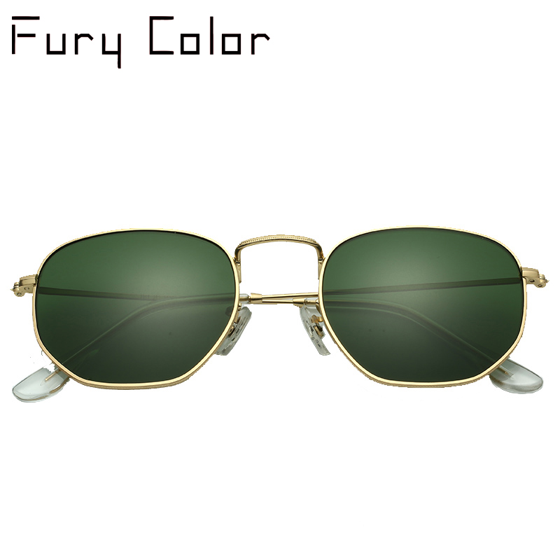 Glass lens Retro metal hexagonal round sunglasses men women luxury brand sun glasses Vintage Eyeglasses Oculos De Sol UV400