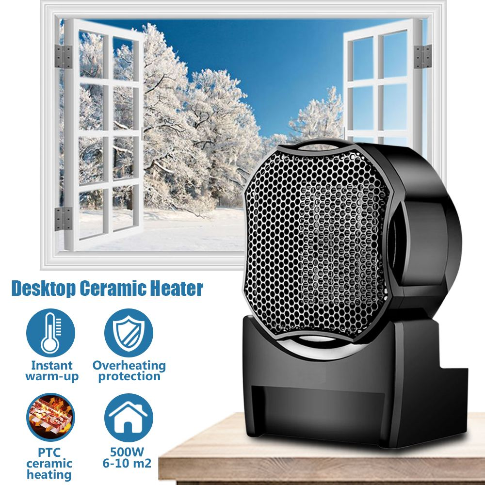 Portable 500W PTC Ceramic Electric Heater Desktop Fan Heater Indoor Home Heater With Overheating Protect For Warm Winter 220v 500w mini ptc ceramic space electric heaters desktop fan heater for warm winter 1 color blue