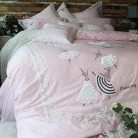 Роскошное постельное белье для принцессы с 3D аппликацией, набор с лепестками, простыни, высокое качество, набор покрытий королевского разме
