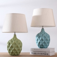 Nordic Simple Country Green/Blue Ceramic Fabric E27 Adjustable Table Lamp for Living Room Bedroom Study Deco H 51cm 80 265V 2179