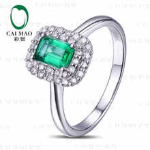 CaiMao 0.71 ct Natural Emerald 18KT/750 White Gold 0.32 ct Full Cut Diamond Engagement Ring Jewelry Gemstone