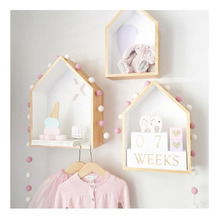 2 Pcs/Set Children 's room decorated cute custom wooden house Wood Doll houses Kids Baby Girls Room house shelf wooden wall