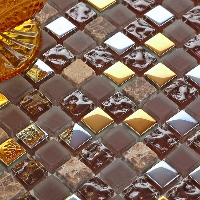 stone tiles kitchen brown mixed silver and golden color glass mixed for 2542