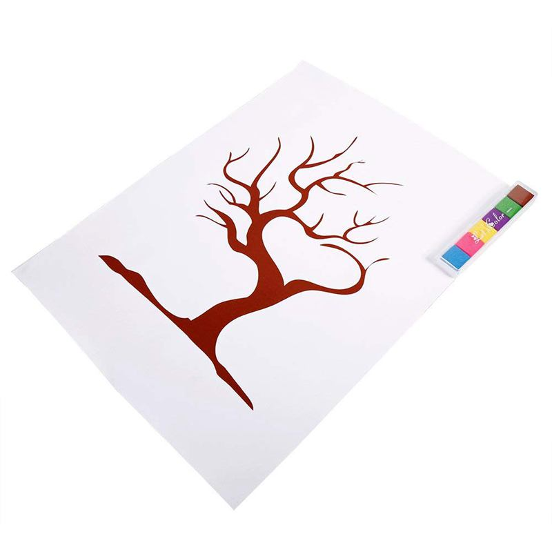 4 styles fingerprint tree custom wedding message book wedding message poster with 6 colors ink (color: TYPE2#)4 styles fingerprint tree custom wedding message book wedding message poster with 6 colors ink (color: TYPE2#)