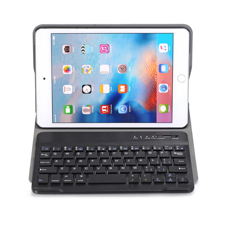 Para iPad Mini 5 2019 Mini 4 teclado inalámbrico Bluetooth funda para iPad Mini 5 soporte de cuero ultrafino + Stylus