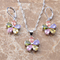Custom Jewelry! Multicolor Cubic Zircon Silver Jewelry Sets Earrings/Pendant /Necklace  Free Shipping  TZ018