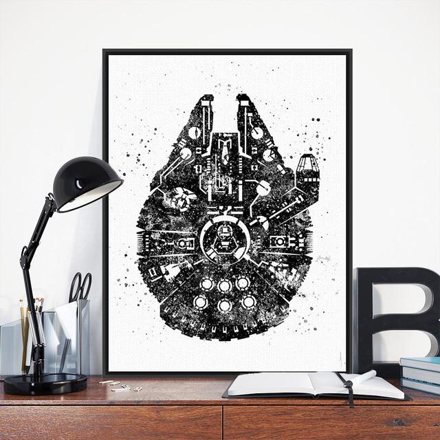 Star Wars Millenium Falcon Watercolor Movie Poster A4