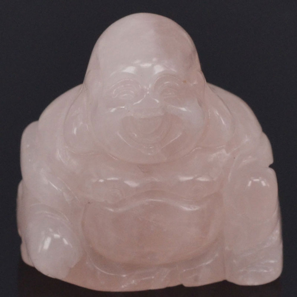 1.1 Inch Rose Quartz Maitreya Buddha Stone Carved Figurine Crafts Lucky Chakra Healing Reiki