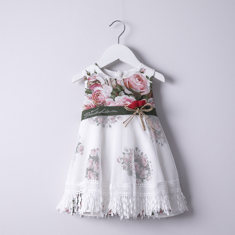 Hurave 2018 summer Baby Girls printing Dress drawstring Children Sleeveless Kids o-neck mesh cotton causal Dresses женское платье summer dress 2015cute o women dress