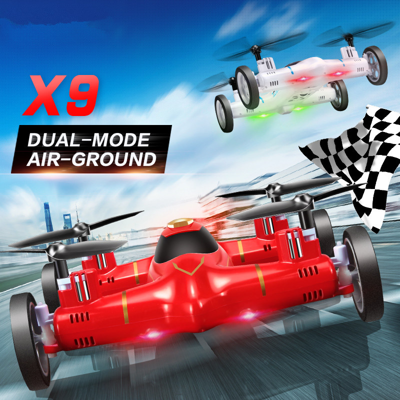 RC Flying Car drone x9 Mini Drone Air-Land Dual Mode 2.4G 4CH 6-Axis remote control rc Quadrocopter classic model plane toy gift f809 2 in 1 rc flying car 4wd 2 4g 4ch remote control drone with wifi camera rc quadcoter headless mode 360 degree vs x25 x9