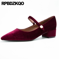 Pointed Low Heels Bridal Shoes Mary Jane Size 4 34 Chunky Wine Red Wedding Evening Velvet Pearl Pumps Top Quality Women Strap