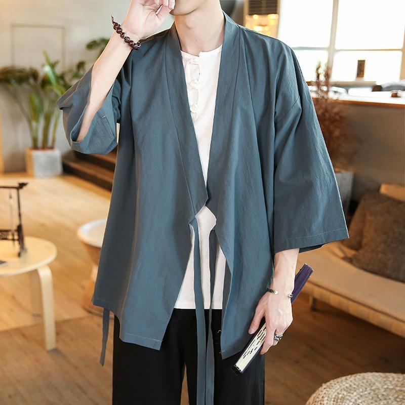 Linen Mens Chinese Retro Loose Fit Causal Cardigan Black kimono Jackets Casual