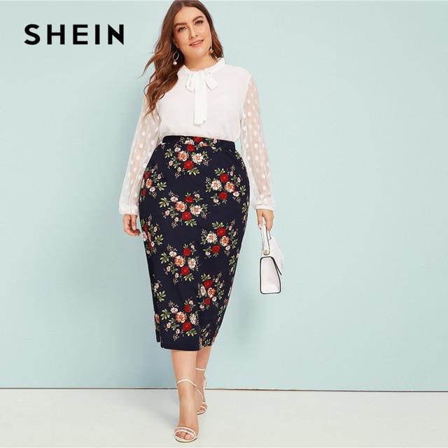 SHEIN Plus Size Abaya Navy Floral Print Pencil Skirts Womens Summer Autumn Big Size Elegant Plus Bodycon Long Skirt 4