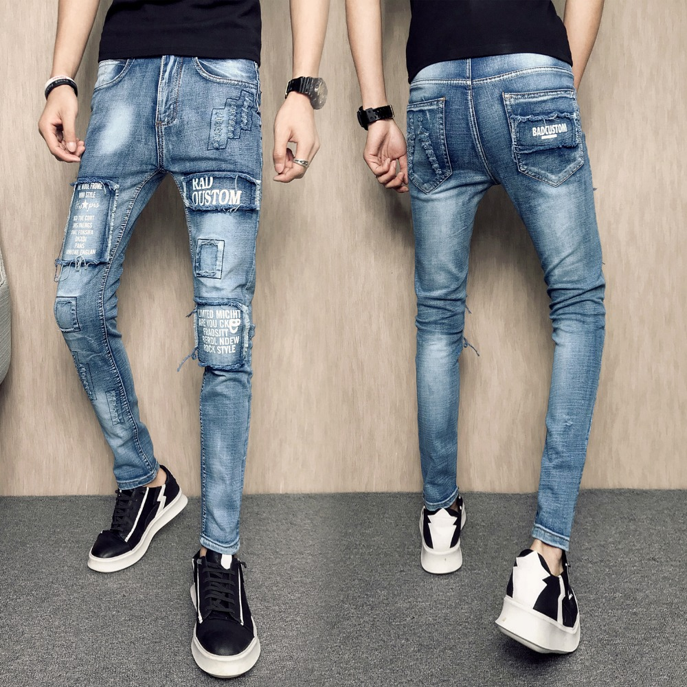 2018 Spring and summer young mens Slim jeans feet pants youth Korean version of the skinny thin patch pencil pants