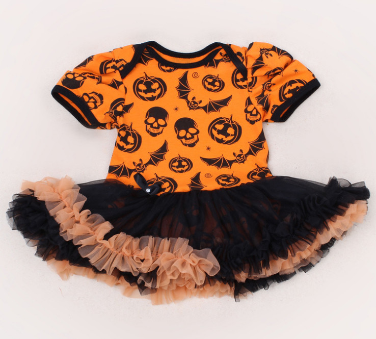 9c1428db4 Pumpkin Black Baby Girl Halloween Costumes Lace Petti Rompers ...
