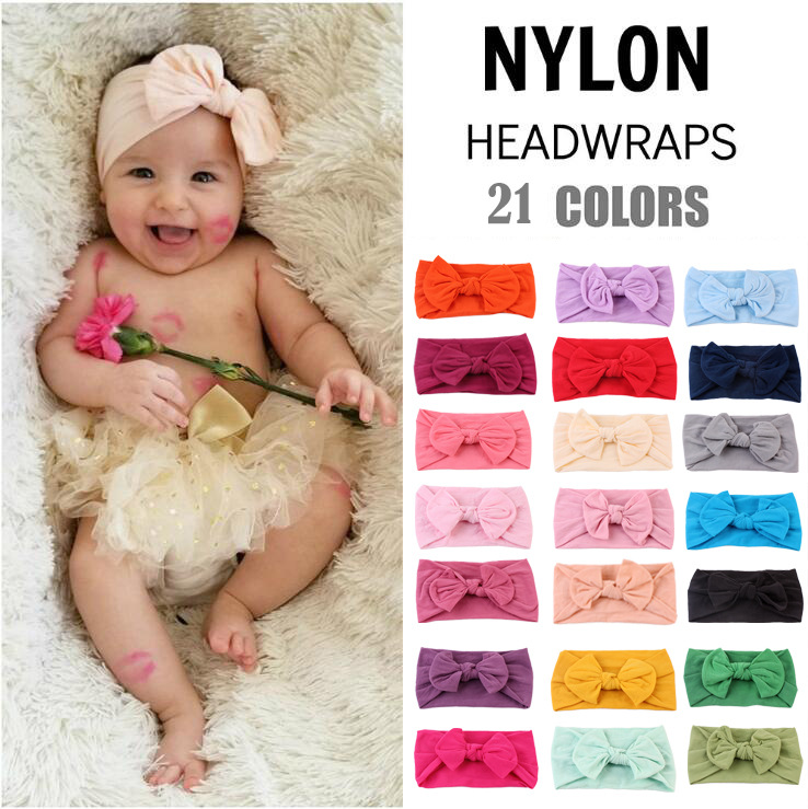 d0b222c5e Girls Baby Toddler Turban Solid Headband Hair Band Bow Accessories ...