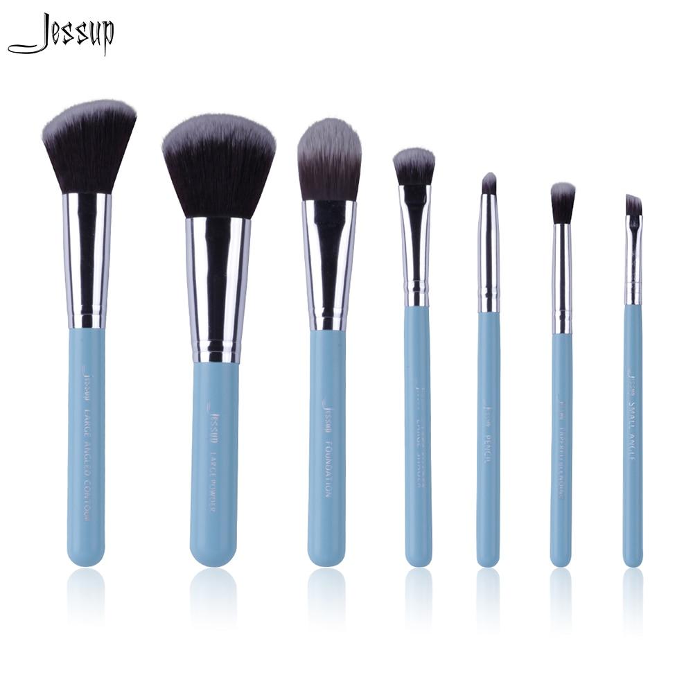 Jessup Brand Blue 7pcs Professional Makeup brush set Beauty Cosmetic Kit Eyeshadow Foundation blusher Make up brushes Tools new lcbox professional 16 pcs makeup brush set kit pouch bag cosmetic brush kit cosmetic powder foundation eyeshadow brush tools