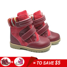 Girls Shoes Martin Boots Kids Genuine Leather Winter Fur Ankle Boots Toddler Fashion Girls Snow Boots Children's OrthopedicShoes