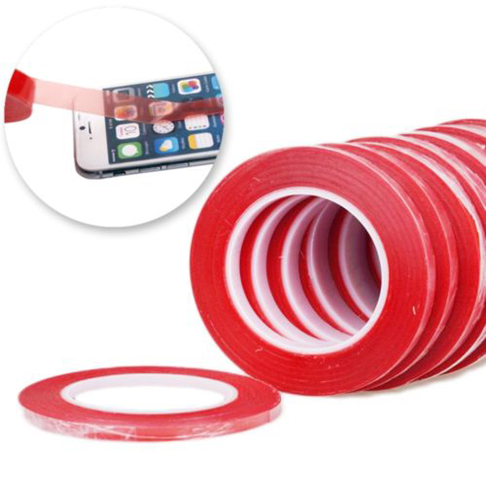 5mm*25m Red Double Sided Tape Plastic Adhesive Sticky Glue for PC Cellphone LCD Screen Super Strong Stickiness Repair Ultra Thin
