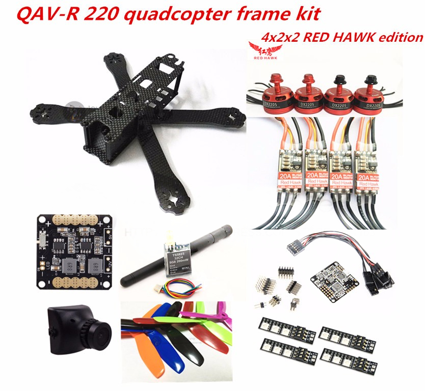 DIY FPV mini drone QAV-R 220 quadcopter pure carbon 4x2x2 frame kit DX2205 + RED HAWK 20A ESC 2-4S + NAZE32 / SP F3 + camera diy mini drone fpv race nighthawk 250 qav280 quadcopter pure carbon frame kit naze32 10dof emax mt2206ii kv1900 run with 4s
