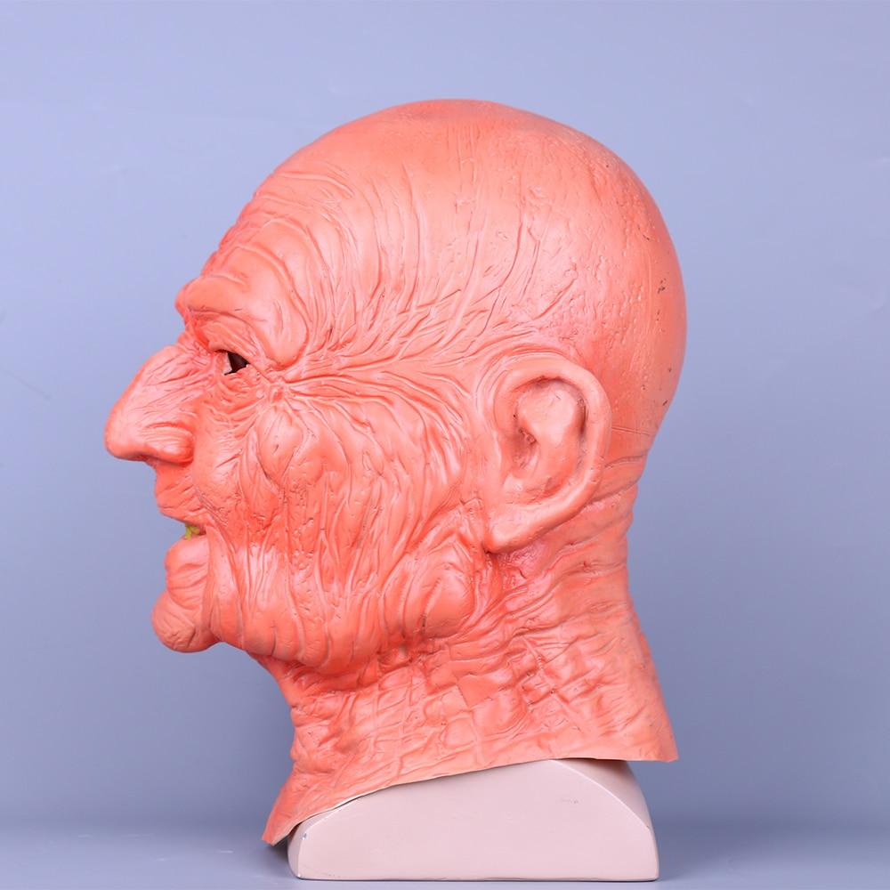 Creepy Old Man Mask With Hair Masquerade Old Man Mask Halloween Mask Props New (6)