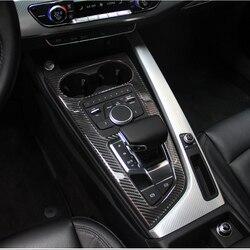 Fibra de carbono Car Control panel de caja de cambios soporte para taza de agua marco accesorios para Audi a4 b9 2017-2019 Coche