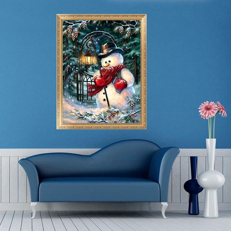 Home Decor Diamond Painting Cross Stitch Santa Claus &Snowman Embroidery Diamond Mosaic Needlework Photo Frame Chrismas Decor