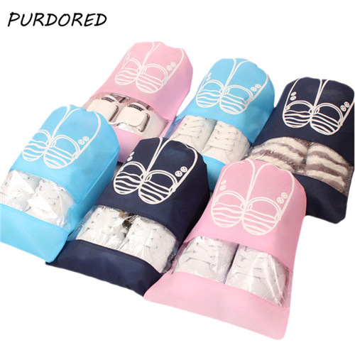 PURDORED 1 Pc Travel Shoes Bag Waterproof Drawstring Shoes Bags Portable Shoes Organizer Bag Pouch Dustproof Cover Bag