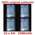16 x aerfago aa baterias ni-mh 2400 mah 1.2 v aa bateria recarregável baterias com 1 caixa de bateria caso hold