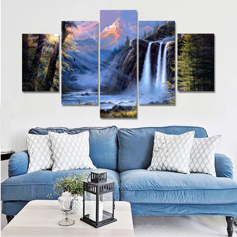 Unframed HD Canvas Prints Cliff Waterfall River Forest Landscape Prints Wall Pictures For Living Room Wall Art Decoration