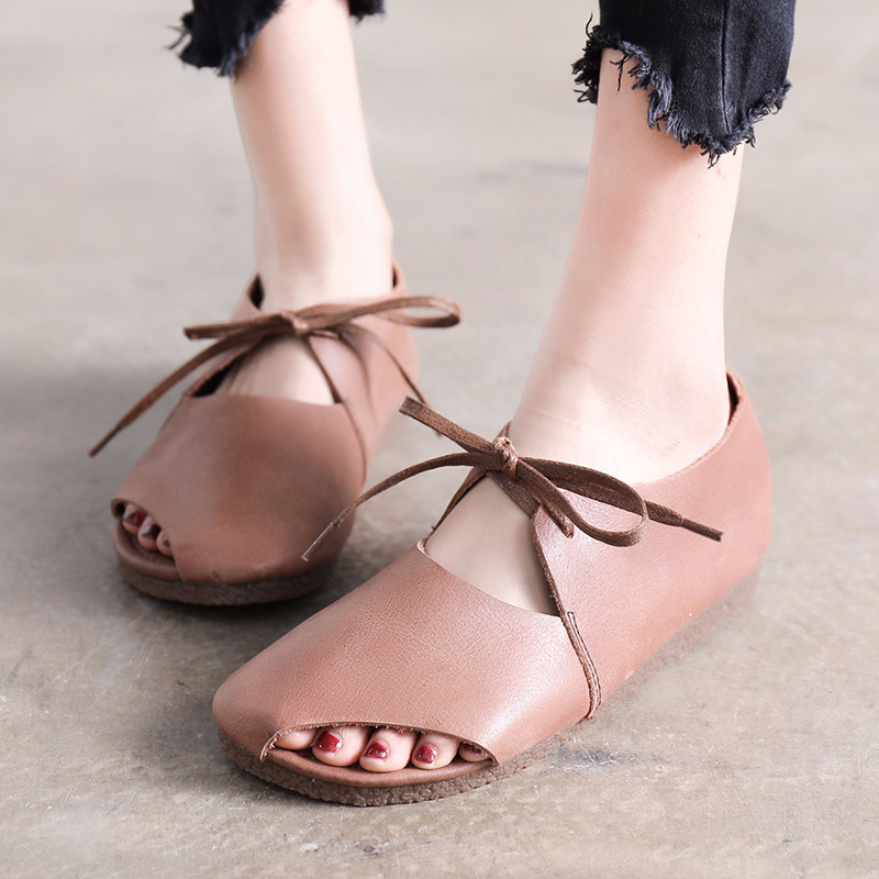 Qadın ayaqqabısı yay qadın təsadüfi düz sandalet krujeva - Qadın ayaqqabıları - Fotoqrafiya 2