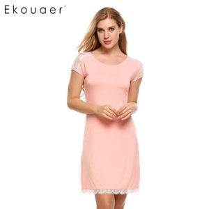 Image 2 - Ekouaer Lace Patchwork Nightgown Women Fashion O Neck Cap Short Sleeve Sleepwear Sexy Hollow Out Home Dress Casual Nightdress