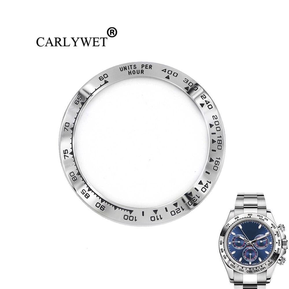 CARLYWET Gros Haute Qualité 316L Écrits En Acier Inoxydable Argent avec Noir 38.6mm Montre Lunette pour DAYTONA 116500-116520