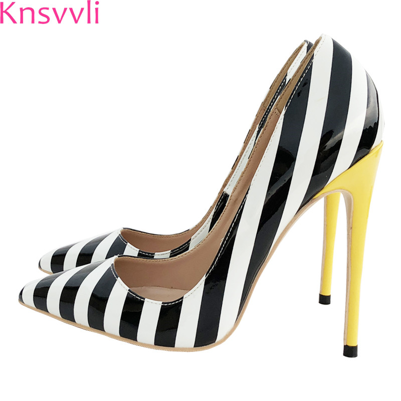 7537489fe12c Blanc Heel Banquet Extrême Knsvvli Mince 8 Heel 12 Rayures Pointu Chaussures  Mariage Mixte Bout Hauts ...