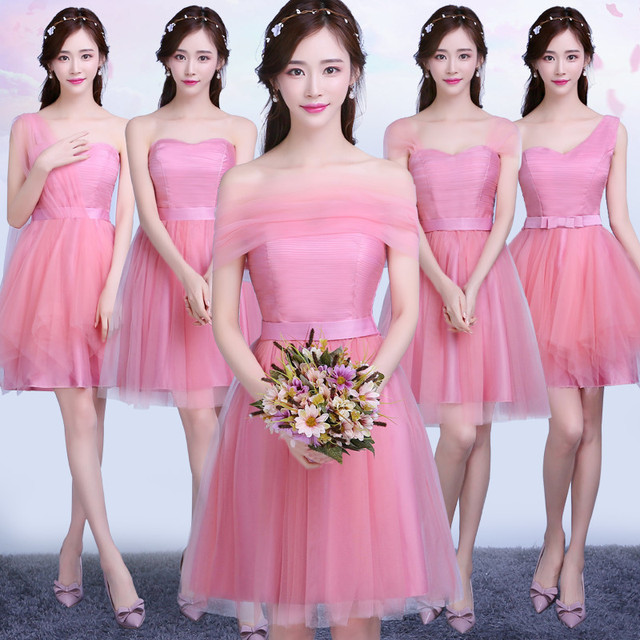 Clean Stock Good Quality One Shoulder Bridesmaid Dress For Wedding Party Prom Promotion Sweet Memory Sw180424