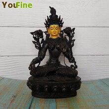 Bronze Tibetan Buddha statue Green Tara, Harit Tara enlightened and energetic dedicated to decorative home decoration