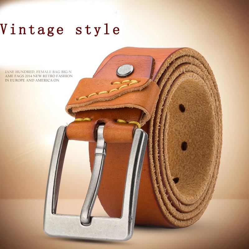 vintage cowboys 100%genuine leather designer Handcraft belt men high quality durable military luxury brand belt for jeans125