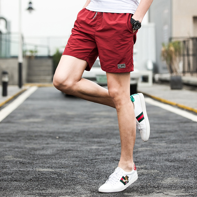 Fashion Quick Drying Shorts Male Casual Beach Shorts Men Pure Color Jogge Shorts Mens Pl ...