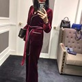 New 2016 autumn designer fashion women bathrobe style stunning velvet women blazer tops + pants suit black red two piece set