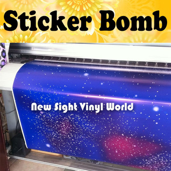 Galaxy Sticker Bomb Vinyl Roll Star Sticker Bombing Star Vinyl Wrap Bubble Free Size:1.50*30m/Roll