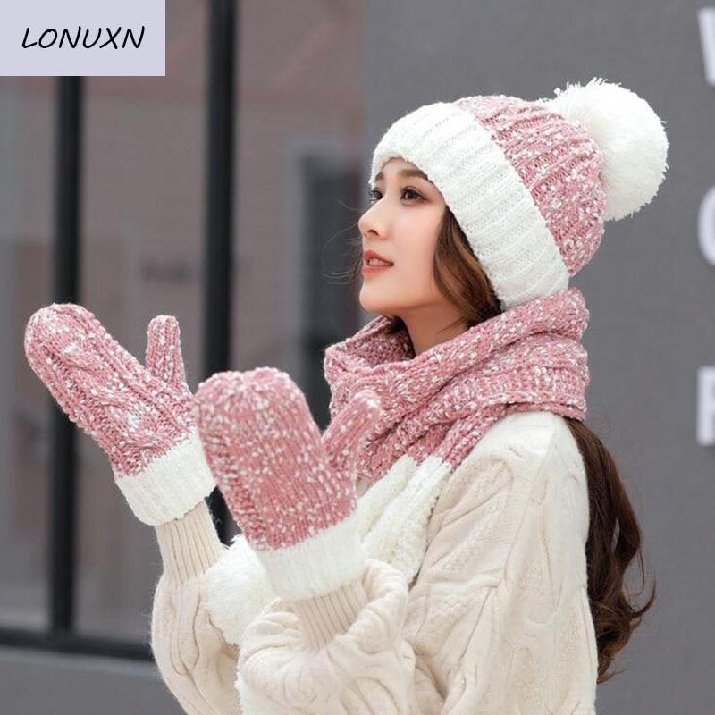 7 couleurs haute qualité nouvelle mode sauvage confortable loisirs tricot épaissir Plus velours garder au chaud chapeau + écharpe + gants 3 pièces